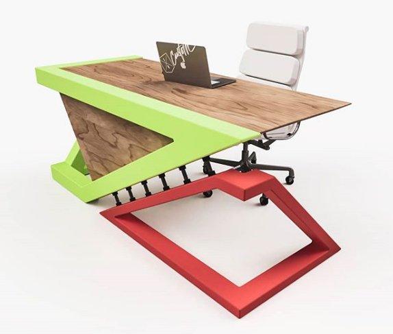Escritorio moderno hierro y madera