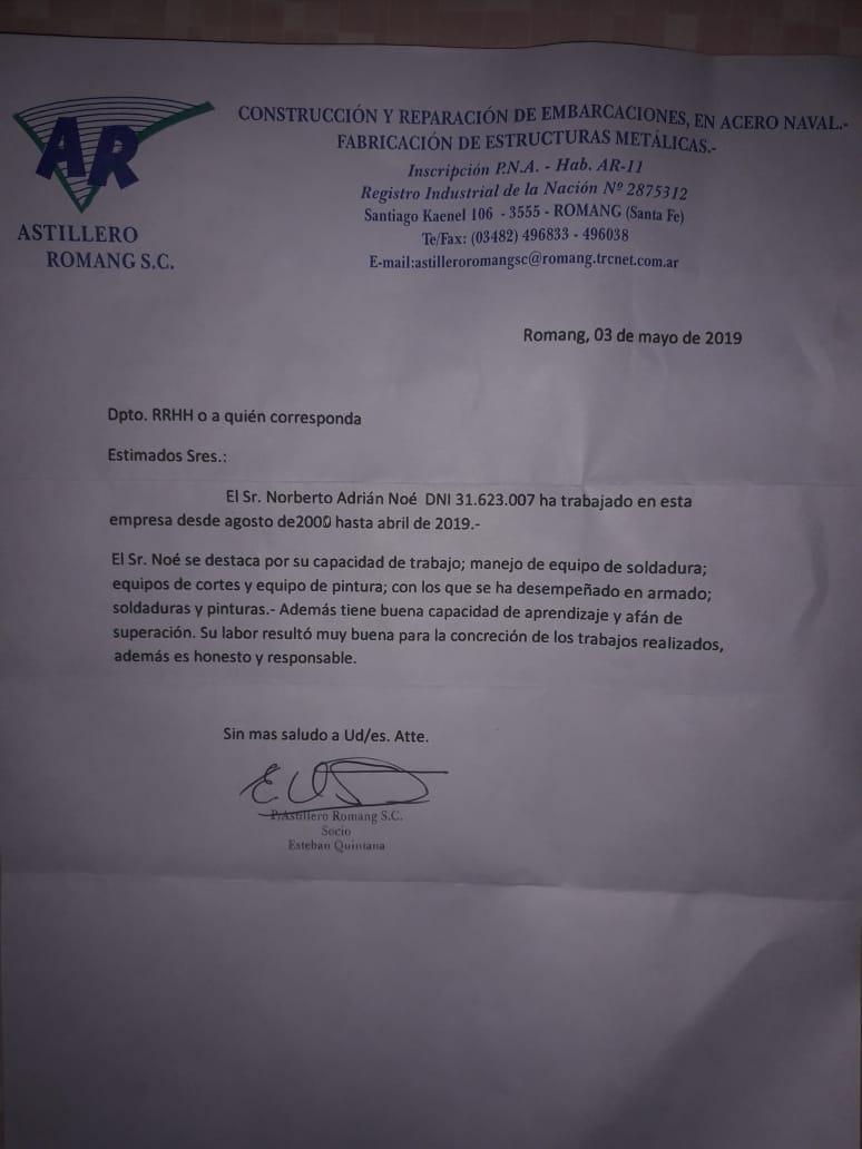 Busca trabajo soy soldador naval cuento con carta de recomendación en Río Negro